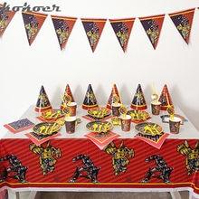 Crianças festa conjunto transformação bumblebee optimus prime boy ama utensílios de mesa descartáveis festa de aniversário decorações suprimentos