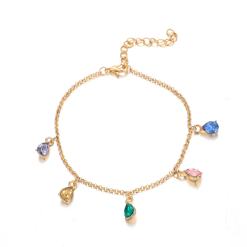 4 Pcs/Set Boho Gold Colorful Crystal Wafer MultiLayer Anklets for Women Chains Adjustable Anklets Set Foot Jewelry Accessories 2