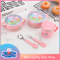 stainless steel tableware Original Peppa Pig figure Anti fall cup Bowl spoon knife and fork set gift for children