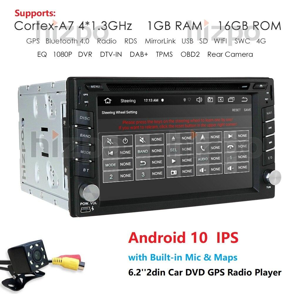 "6.2"" 2Din Android 10.0 Car Multimedia Player For Nissan Hyundai Kia GPS Navigation Radio Stereo Video autoradio mirror link obd2"