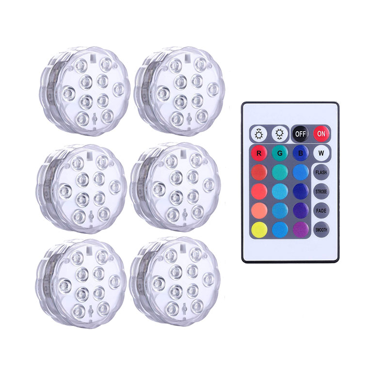 Submersible LED Lights Underwater Light Waterproof Battery Operated Remote Control Wireless10LED RGB Tub Swimming Pool Vase Lamp