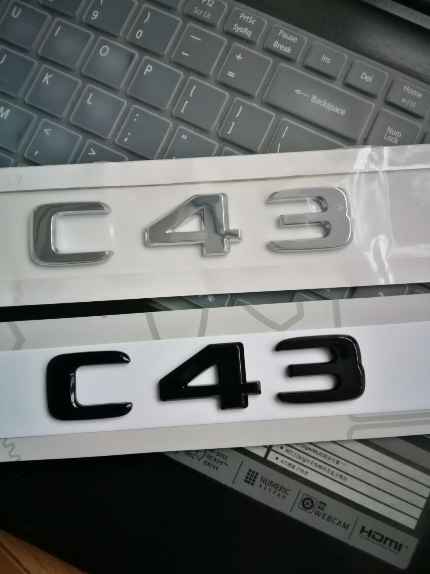 Gloss Black ABS Number Letters Car Emblem Sticker for Mercedes Benz C Class C43