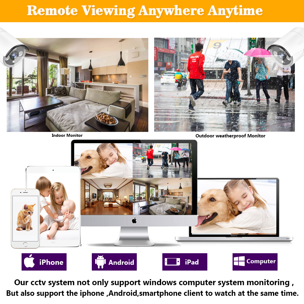 Image 5 - HCVAHDN 8CH 5MP POE NVR Xmeye CCTV System 4.0MP Indoor Outdoor PoE IP Camera IR Night Vision Video Security Surveillance Kits-in Surveillance System from Security & Protection