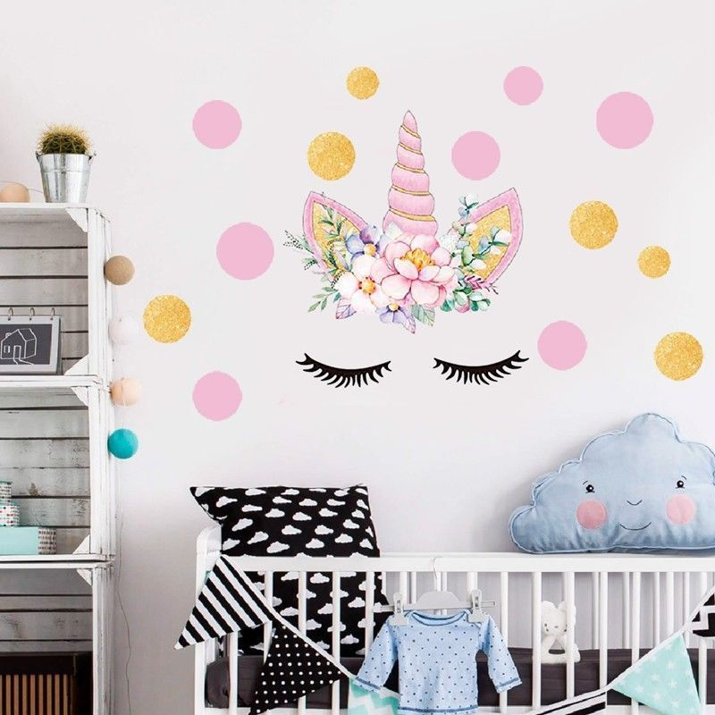 Art Wall Stickers Unicorn Hearts Girls Bedroom Decals Gold Pink Polka Dots Decor Newborn Baby Kids Birthday Party Wall Stickers Wall Stickers Aliexpress