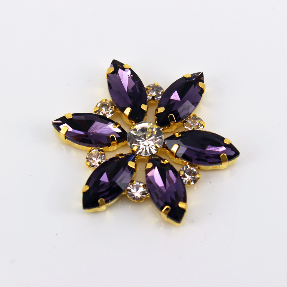 3.5x3.5cm 1 Pcs Flower Shape Sew On Rhinestone Applique Gold Base Colorful Patch For Dress Hair Accessory DIY Iron On