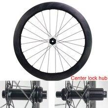 Novo 454 700c 58mm de fibra carbono completo da bicicleta estrada dimpled jantes clincher rodado através do eixo centro bloqueio freio a disco navio livre
