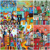 AZQSD Painting By Numbers Abstract Scenery DIY Handpainted Gift Coloring By Numbers House Picture For Living Room Home Decor