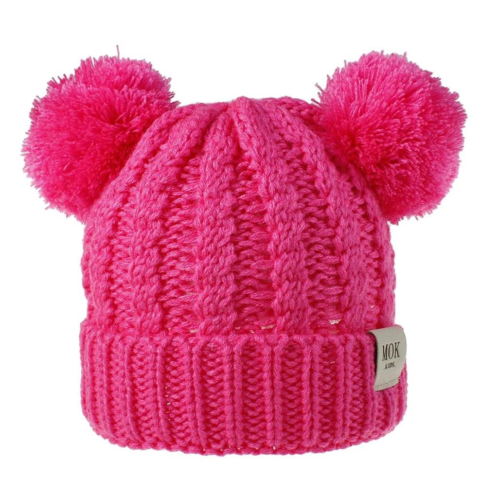 Kid Girl Boy Child Hat Keep Warm Winter Casual Knitted Hat Wool Hairball Ski Hat