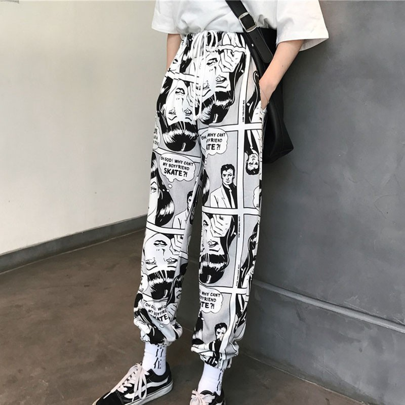 Women Pants Loose Sports Casual Beam Foot Harem Pants Comics Printed Joggers Pants Mens Hip Hop Casual Trousers