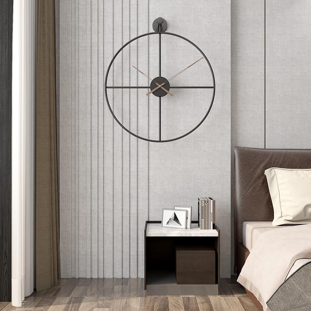 20 Inches 50cm Retro European Style Wall Clock Household Bedroom Iron Art Clock Wall Decor Black Frame Walnut Pointer