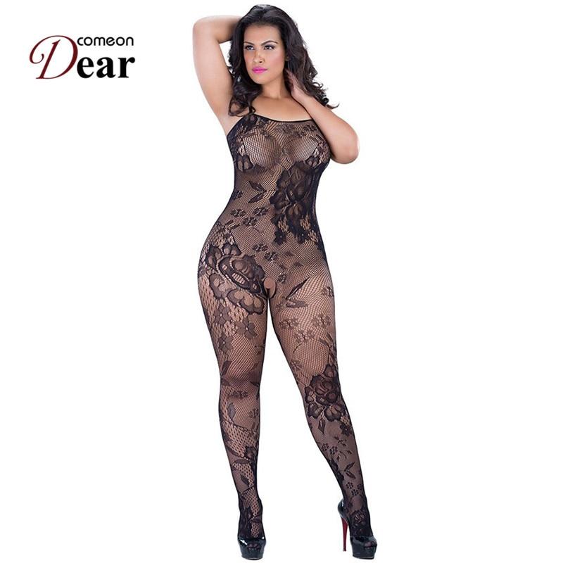 Comeondear Plus Size Crotchless Mesh Body Sexy Bodystocking Fishnet XL Women Erotique Whore See Through Bodysuit Nylon HB3138