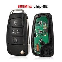 Jingyuqin 3 botones Flip Remote Key 8E Chip 868Mhz FSK modelo alarma de coche para Audi A6L Q7 4f0837220R / AD Auto Key Fob Control