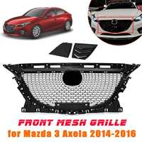 ABS Black Front Grille Bumper Grill for Mazda 3 Axela 2014 2015 2016 Diamond Upper Grills Protector Car Styling Accessories