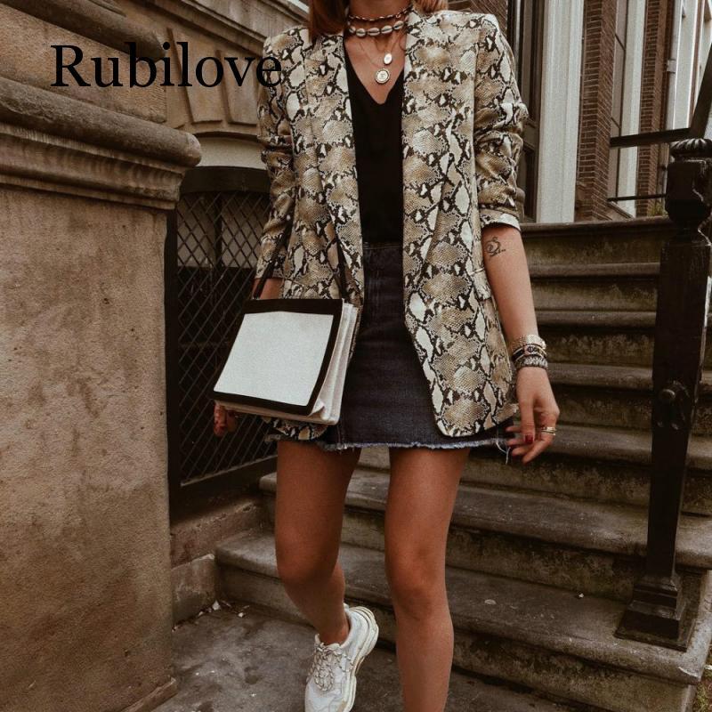 Rubilove 2019 Women England Style Snake Print Blazer Pockets Notched Collar Long Sleeve Coat Female Outerwear