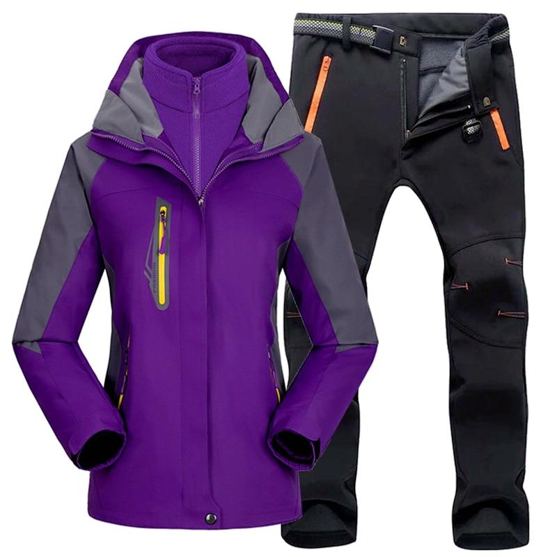 Women Ski Suit Outdoor Hiking Skiing Waterproof Jackets Fleece Winter Warm Fishing Trekking Ski Jacket Pant Set For Female