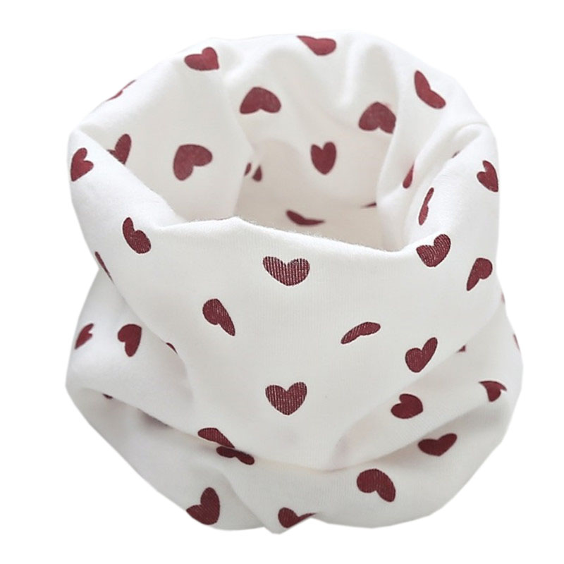Новинка; Модный хлопковый шарф для маленьких девочек; осенне-зимний шарф для маленьких мальчиков; Детский шарф с круглым вырезом; Детские шарфы; волшебный шейный платок - Цвет: white heart