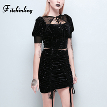 Fitshinling Goth Dark Velvet 2 Piece Set Hot Stamping Drawstring Slim Crop Top Skirts Women Matching Sets Mesh Splice Black Suit