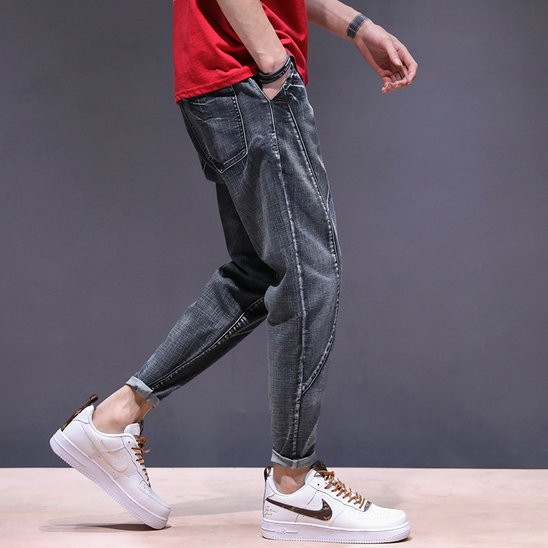 KSTUN haren jeans men motorcycle jeans streetwear drawstring elastic waist loose feet Pants outdoor leisure riding jeans joggers 15
