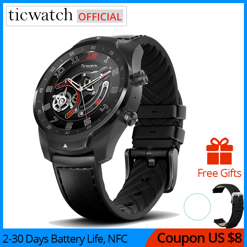 Original Ticwatch Pro Bluetooth <font><b>Smart</b></font> <font><b>Watch</b></font> IP68 Waterproof support NFC Payments/Google Assistant Wear OS by Google GPS <font><b>Watch</b></font> image