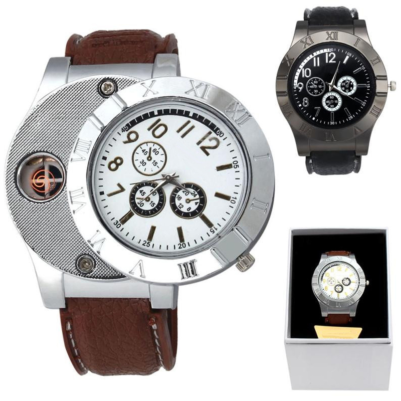 Man Watch 2019 Military USB Charge Windproof Electronic Flameless Lighter Watch Creative Men Watches Quartz Wristwatch Best Gift