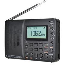 Jinete receptor de rádio fm/am/sw, full band, portátil, de bolso, com bluetooth, mp3, suporta cartão tf gravação de cartão em disco u