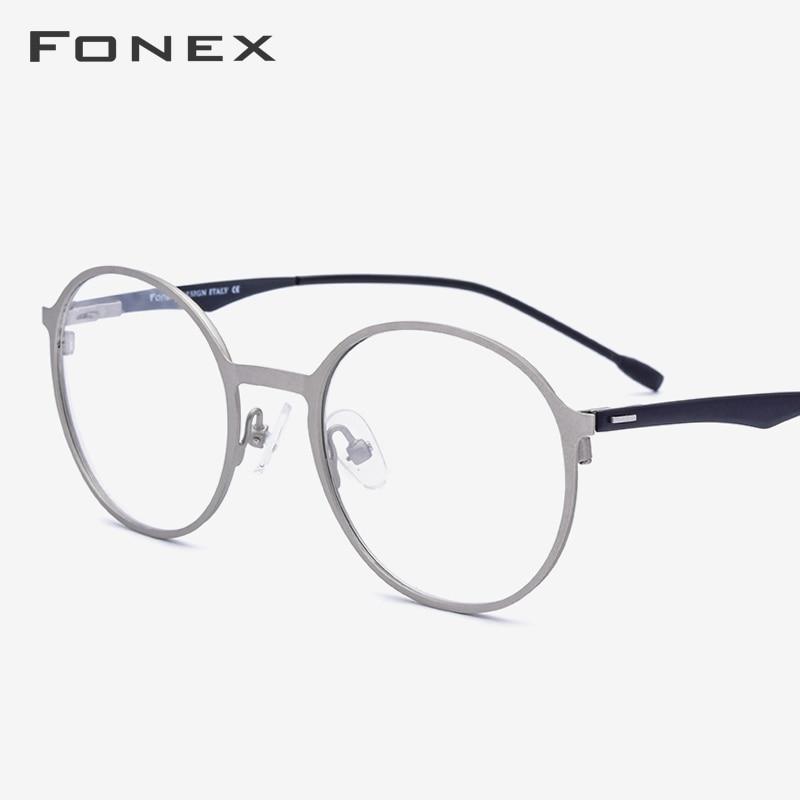 Round Alloy Eyeglasses Frame Men Ultralight Prescription Myopia Optical Glasses Frame Women Retro Korean Screwless Eyewear 8821
