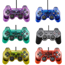 Hot Sale Transparent Color Wired Controller For Sony Playstation 2 Gamepad Double Vibration Clear Controle For Sony PS2 Joystick цена и фото