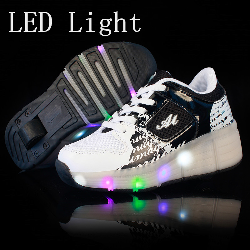 New Black Cheap Child Fashion Girls Boys LED Light Roller Skate Shoes For Children Kids Sneakers With Wheels One wheels