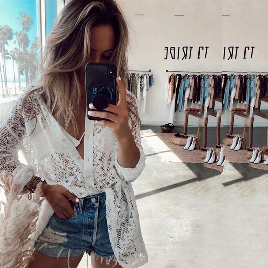 Kadın yaz plaj mayo mayo Bikini giymek Cover Up dantel üst bluz Beachwear mayo biquini купальник женский