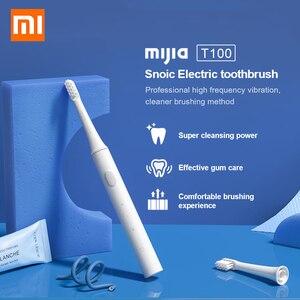 Image 1 - Электрическая зубная щетка Xiaomi Mijia T100 Sonic, водонепроницаемая ультразвуковая автоматическая зубная щетка для взрослых, перезаряжаемая USB IPX7