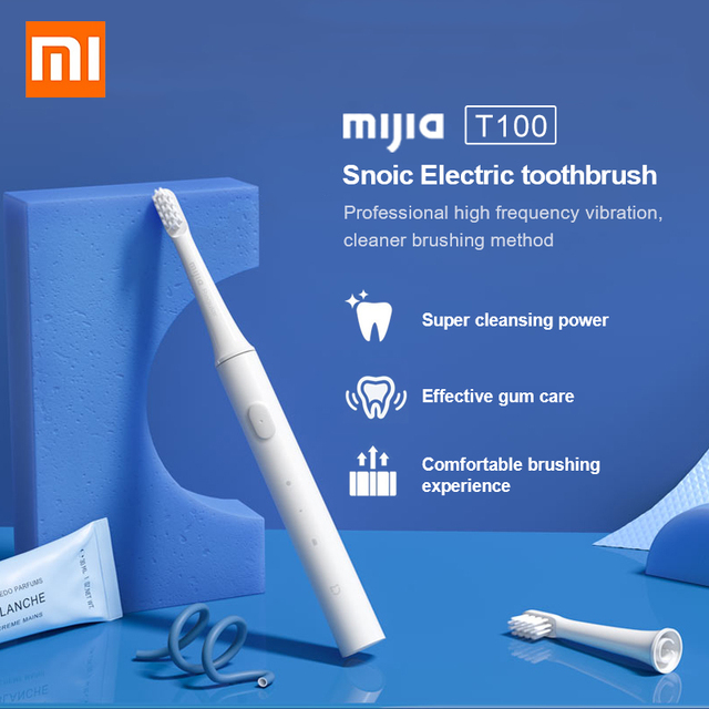 Электрическая зубная щетка Xiaomi Mijia T100 Sonic, водонепроницаемая ультразвуковая автоматическая зубная щетка для взрослых, перезаряжаемая USB IPX7