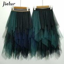 Jielur Тюлевая юбка Волшебный цвет эластичная Высокая Талия Для женщин юбка-пачка для танца шифоновая несимметричная Нижняя юбка в стиле Лолита миди Rokken из тонкой прозрачной ткани