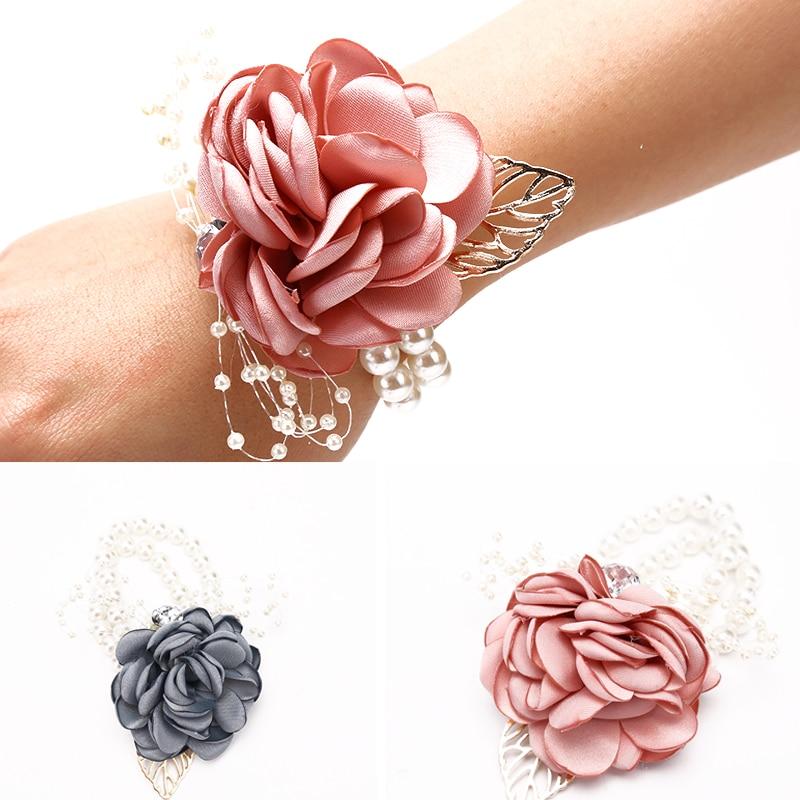 Girls Bridesmaid Wrist Flowers Wedding Prom Party Corsage Bracelet Fabric Hand Flowers Wedding Supply Accessories