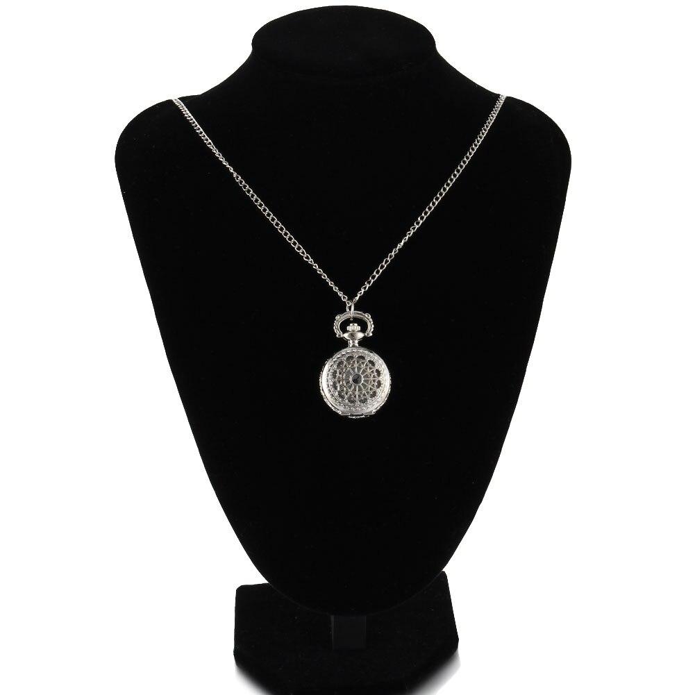 Newly Women Men Pocket Watch Retro Bronze Tone Round Shape Spider Web Pattern Watches With Chain Necklace