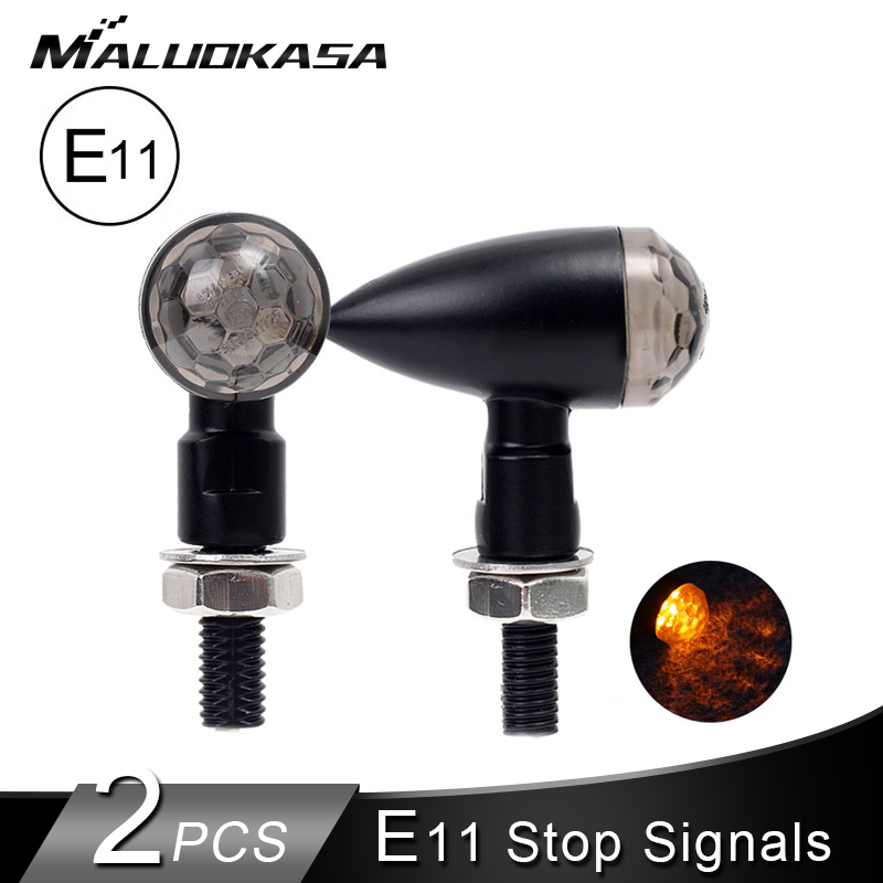 2PCS Turn Signals Light Mini Motorcycle E11 Stop Signal M8 LED Blinker Tail Lamp Fully Aluminum 12V Tail Stop Indicator IP67