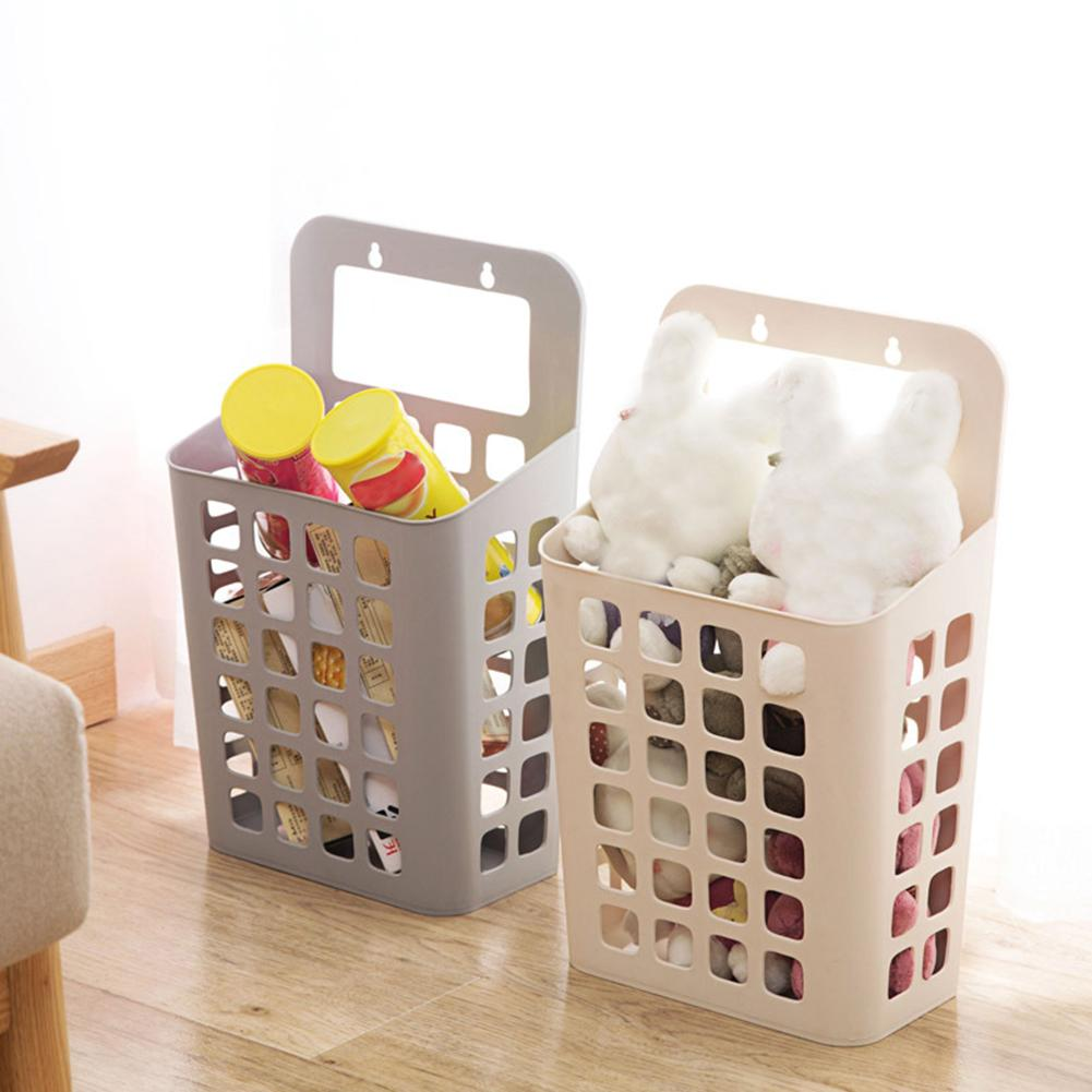 Sucker Hollow Plastic Laundry Basket Toy Dirty Clothes Container Home Organizer Sundries Storage Basket Wall-Mounted