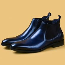 Shoes Heels Formal-Dress Chelsea Ankle-Boots High-Top Handmade Pointed-Toe Genuine-Leather
