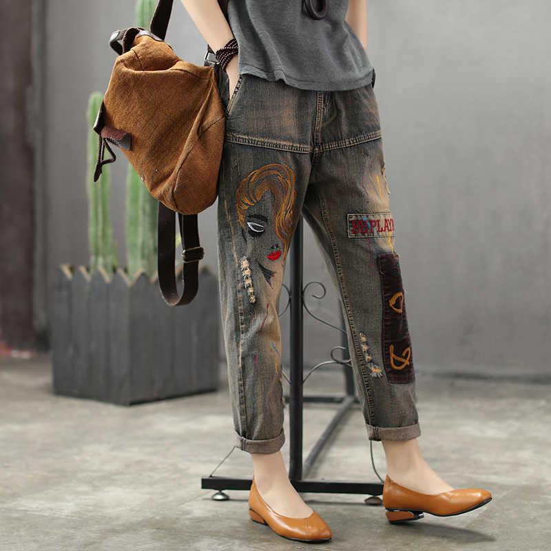 Винтажные Женские джинсы-шаровары с принтом, джинсовые штаны с эластичной резинкой на талии, повседневные универсальные летние джинсы, свободный размер, длина до икры, AB2Z40