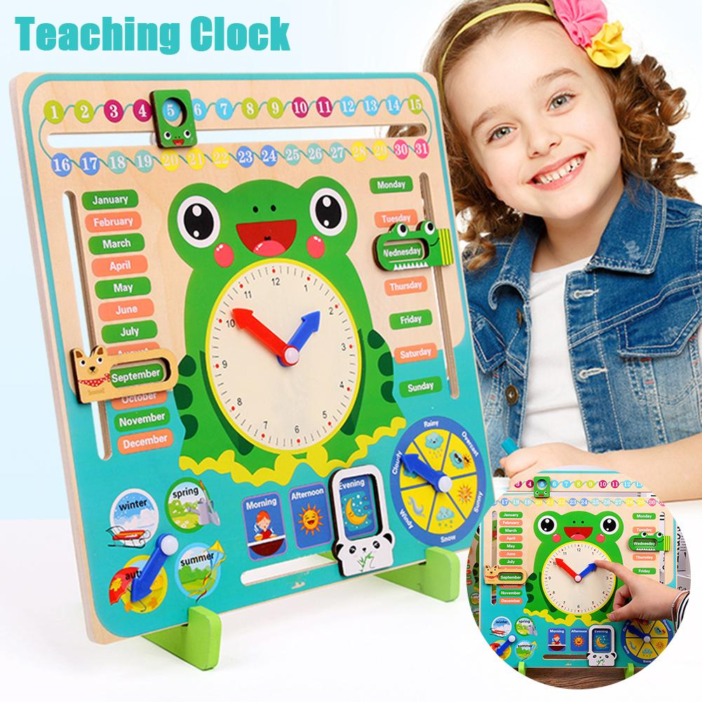 Baby Wooden Multifunction Rainbow Digital Clock Alarm Clock Cognitive Toy Gifts