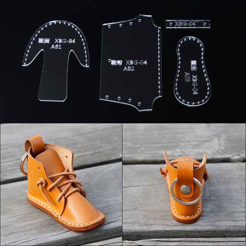 New DIY handmade leather craft small shoes boots key ring pendant hanging pattern acrylic template