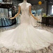 LS314741 traje de novia de sirena con cuello de cadena, escote en V profundo, Mangas de casquillo, Trompeta entre 2020