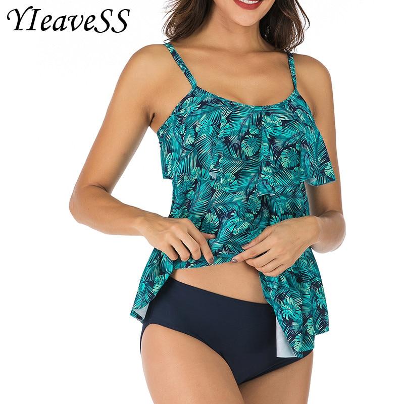 2019 New Tankini Plus Size Swimwear Women Swimwear Two Piece Printed Halter Swimsuit Swimming Dress Bathing Suit