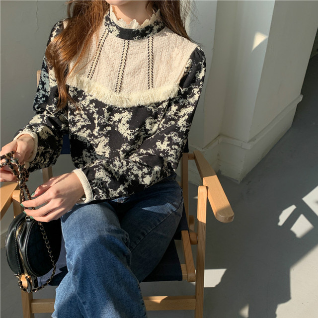 Ezgaga Floral Printed Women Shirts French Style Lace Patchwork Tassel Vintage Tender Long Sleeve Elegant Blouse Ladies Blusas 6