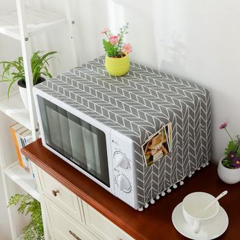 Osłona do mikrofalówki kuchenka mikrofalowa kaptur osłona przeciwpyłowa z workiem do przechowywania akcesoria i materiały kuchenne dekoracja wnętrz tanie i dobre opinie Europa YYC302 Mieszanie