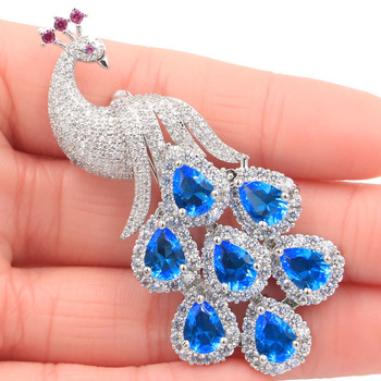 62x28mm SheCrown Big Phoenix 15.2g Tanzanite Paris Blue Topaz CZ Ladies Gift  Silver Brooch