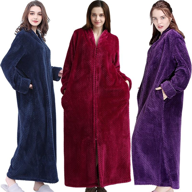 Image 5 - Women Winter Extra Long Thick Warm Bath Robe Plus Size Zipper Luxury Flannel Peignoir Pregnant Bathrobe Men Coral Fleece Robes-in Robes from Underwear & Sleepwears on AliExpress