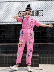 Женский джинсовый комбинезон с вышивкой и блестками, летний Свободный комбинезон оверсайз с короткими рукавами, 2019