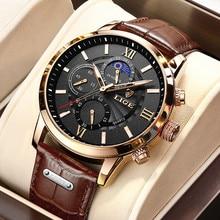 2021 nowe męskie zegarki LIGE Top marka luksusowy skórzany zegarek kwarcowy na co dzień męska Sport wodoodporny zegar zegarek Relogio Masculino + Box