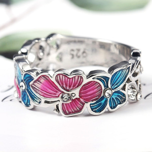 Huitan Crystal CZ Colorful Butterfly & Flower Rings for Women Fashion Dance Party Girl Finger Ring Romantic Gift Stylish Jewelry