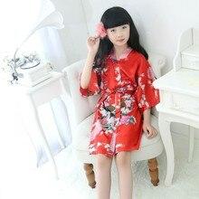 Хлопковое ночное белье для девочек, детское кимоно с цветочным принтом и животными, ночная рубашка для девочек, детский банный халат, пижама, ночное платье, платье z
